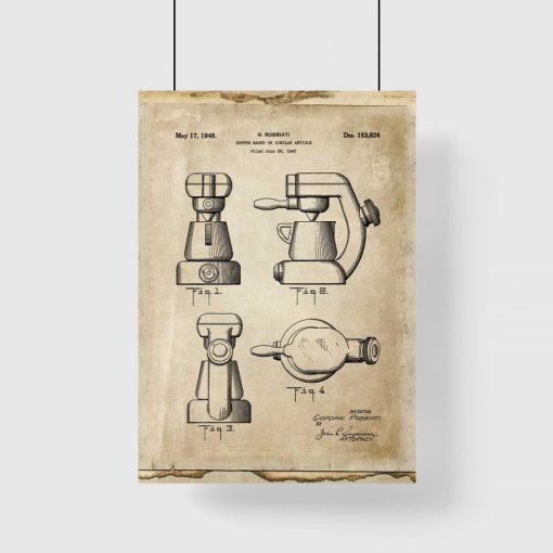 Plakat z rysunkiem opisowym ekspresu do kawy do kawiarni