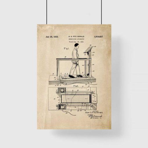 Plakat z reprodukcją patentu na bieżnię do siłowni