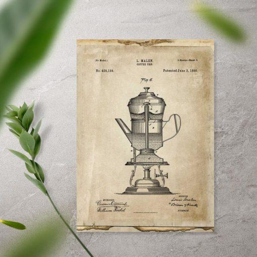 Plakat pierwszy ekspres do kawy z 1890r.