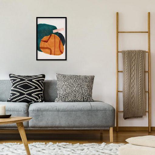 Plakat z plamą w kolorze pomarańczowym do salonu