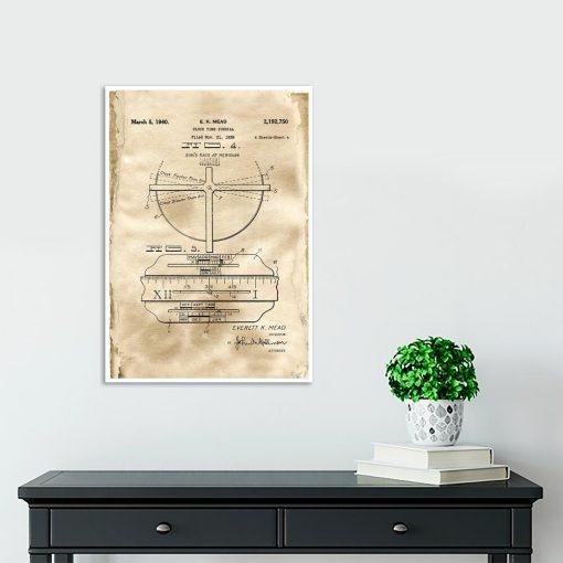 Plakat - Rysunek patentowy zegara z datownikiem do przedpokoju
