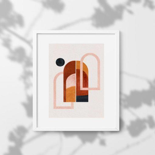 Plakat z motywem kropki i okien w kolorze brązowym