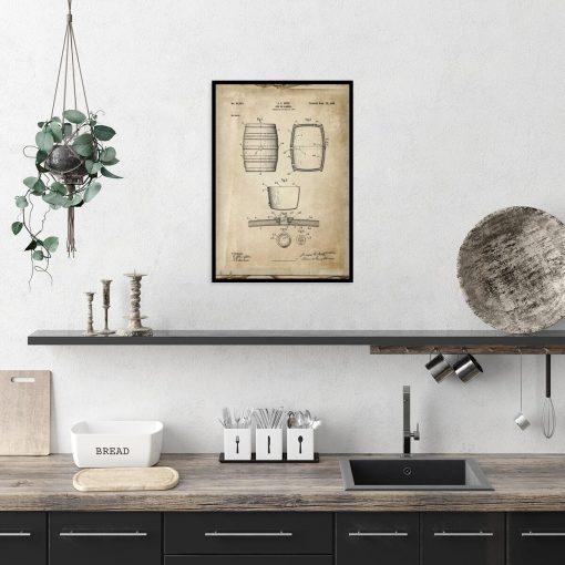 Plakat - Rysunek opisowy beczki do pokoju młodzieżowego