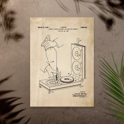Plakat vintage ze schematem budowy maszynki do smażenia pączków