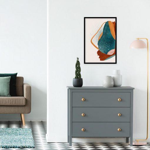 Artystyczny plakat z abstrakcją w kolorze pomarańczowym do pokoju