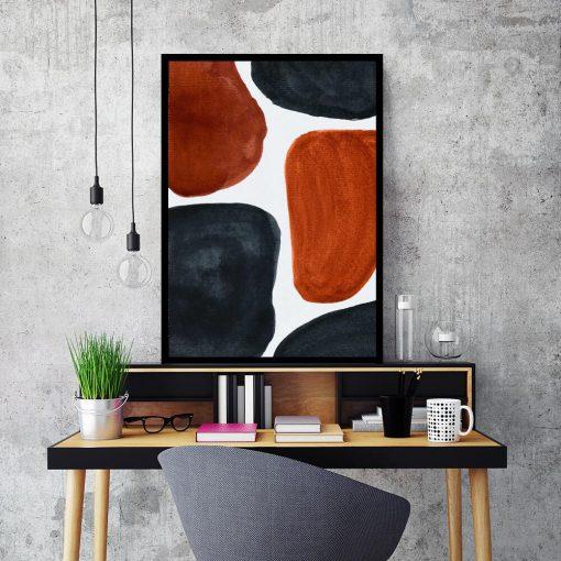 Abstrakcyjny plakat z rudymi plamami do gabinetu