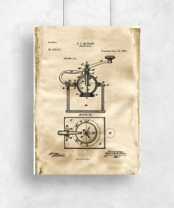 Plakat do kafeterii z rysunkiem patentowym młynka do kawy do kuchni