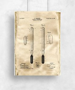 Plakat retro z termometrem