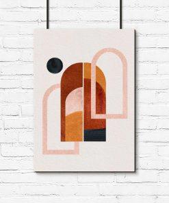 Plakat z oknami i czarną kropką w tonacji brązu