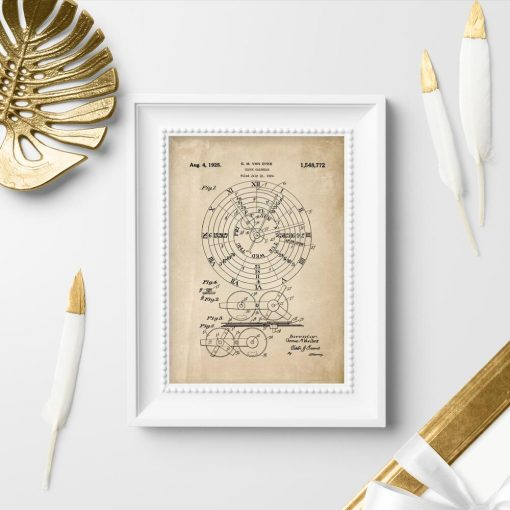 Plakat projekt kalendarza mechanicznego z roku 1924 - patent