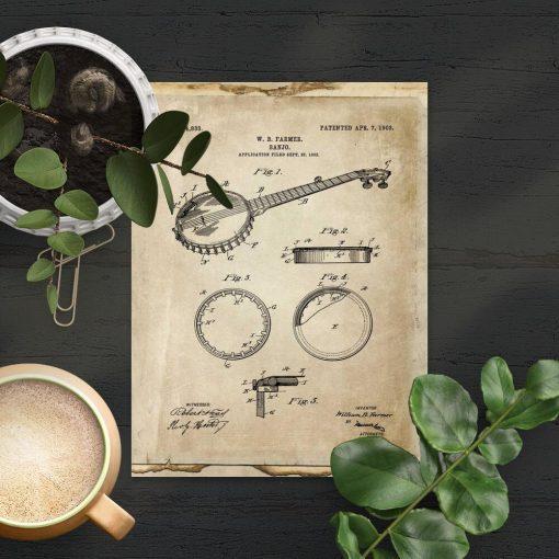 Plakat z rysunkiem patentowym bandżo do gabinetu