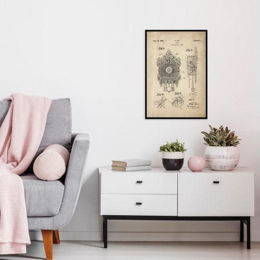 Plakat z reprodukcją rysunku opisowego czasomierza do salonu
