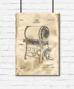 Plakat z rysunkiem patentowym pieca do kawy dla baristy