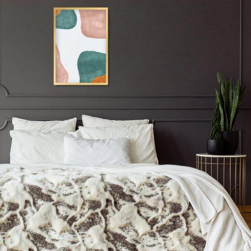 Beżowy plakat z pastelowymi plamami do sypialni