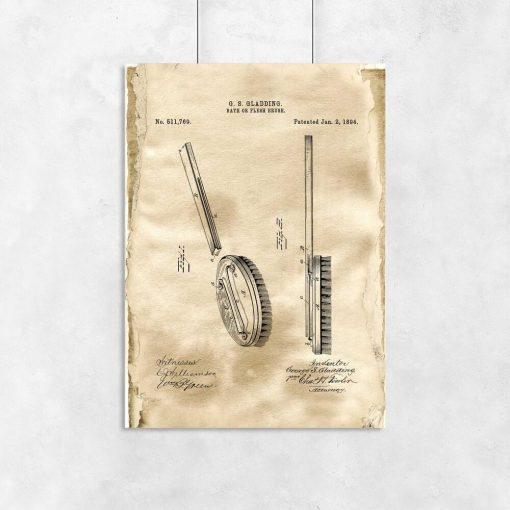 Plakat vintage ze szczotką do salonu