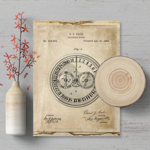 Plakat z patentem na zegar kalendarzowy