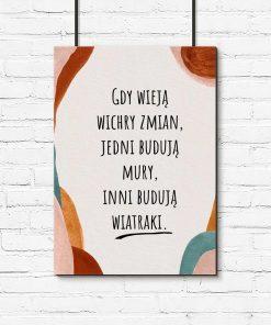 Abstrakcyjny plakat z cytatem do biura