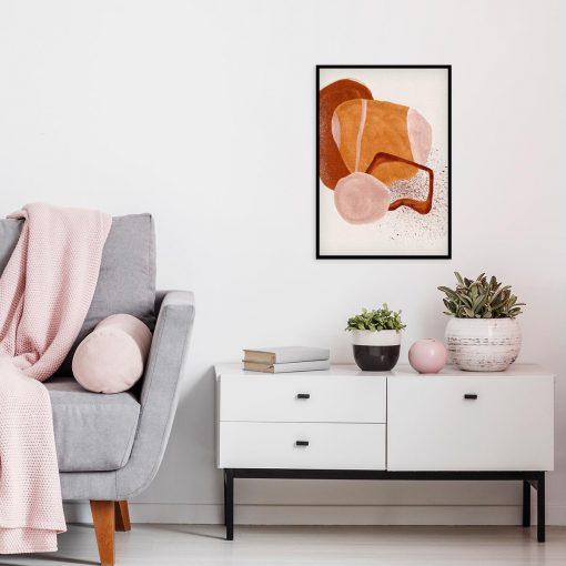 Abstrakcyjny plakat z beżową akwarelą do jadalni