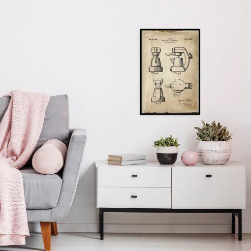 Plakat z rysunkiem opisowym ekspresu do kawy do kuchni