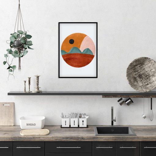 Plakat z brunatnym pejzażem do kuchni