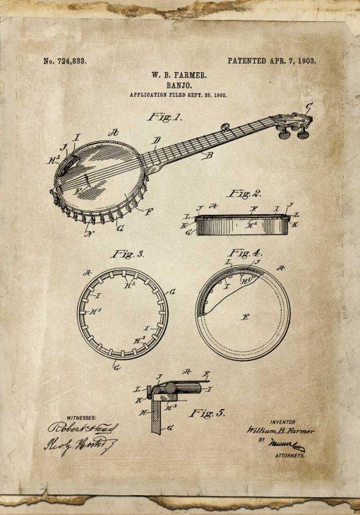 Plakat z rysunkiem patentowym bandżo do pokoju nastolatka