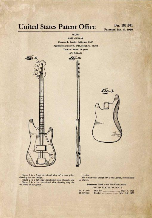 Plakat z patentem gitary basowej do dekoracji sypialni