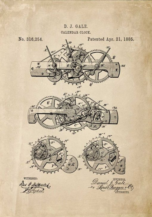 Plakat w sepii ze starą ryciną budowy maszyny