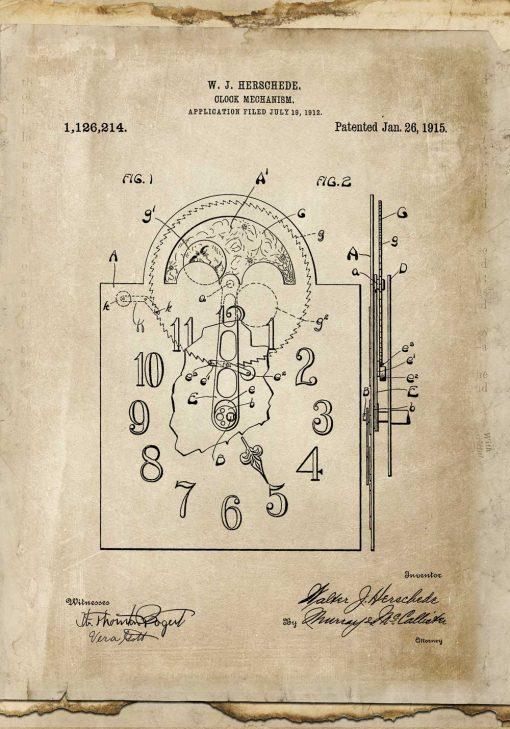 Plakat z reprodukcja rysunku opisowego zegara do gabinetu