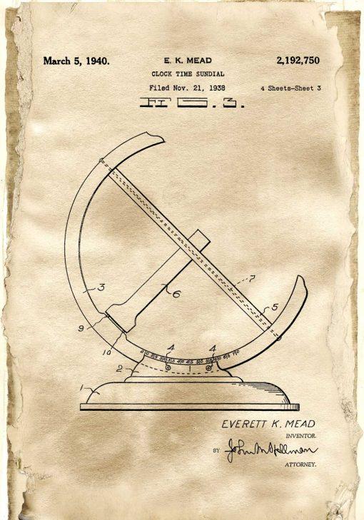 Plakat dla miłośnika historii - Patent na zegar słoneczny dla zegarmistrza