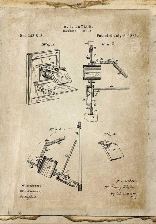 Plakat vintage z rysunkiem patentowym camera obscura