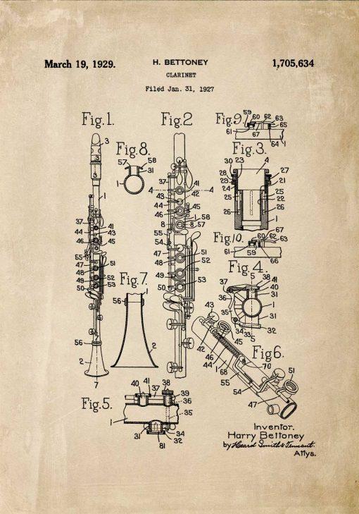 Plakat rysunek koncepcji budowy klarnetu