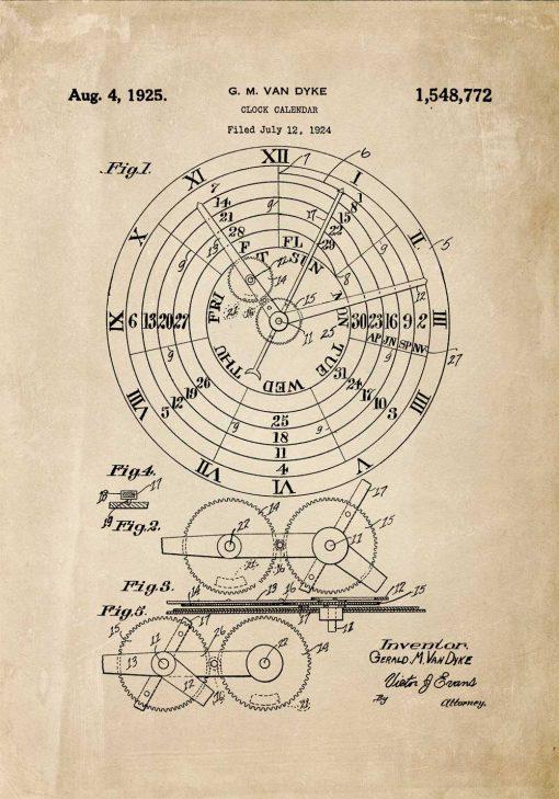 Plakat ze schematem budowy kalendarza zegarowego - patent
