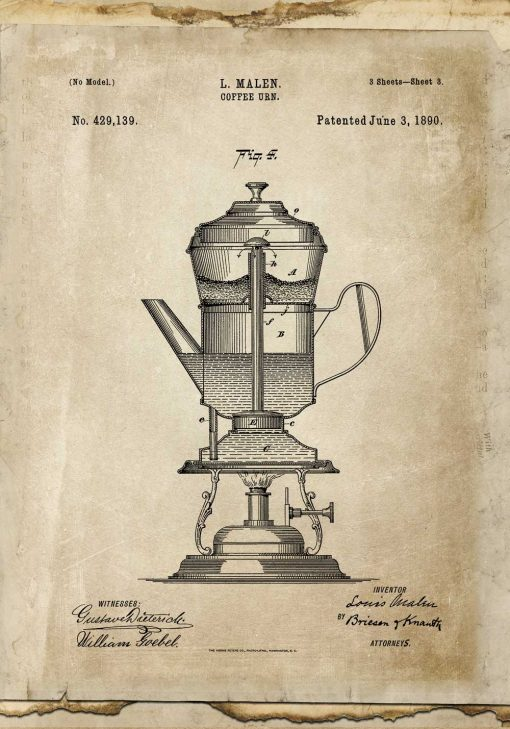 Plakat z projektem ekspresu do kawy z 1890r. -patent