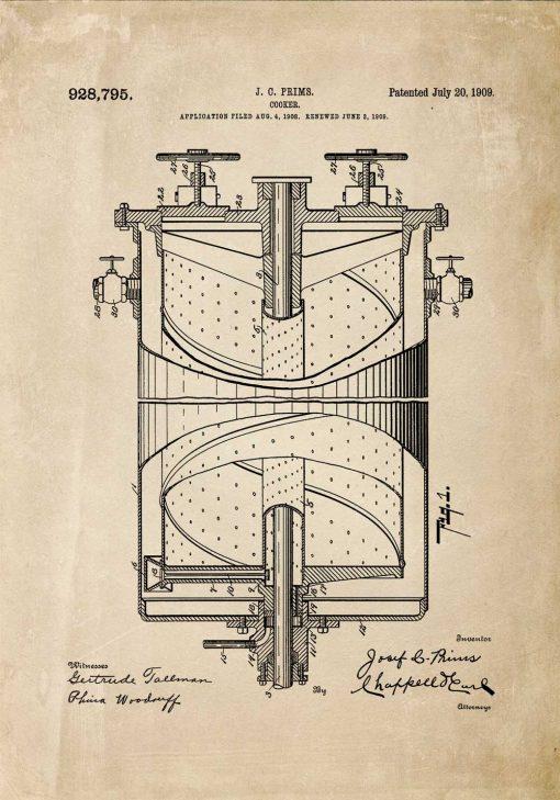 Plakat w beżu z patentem na kuchenkę gazową