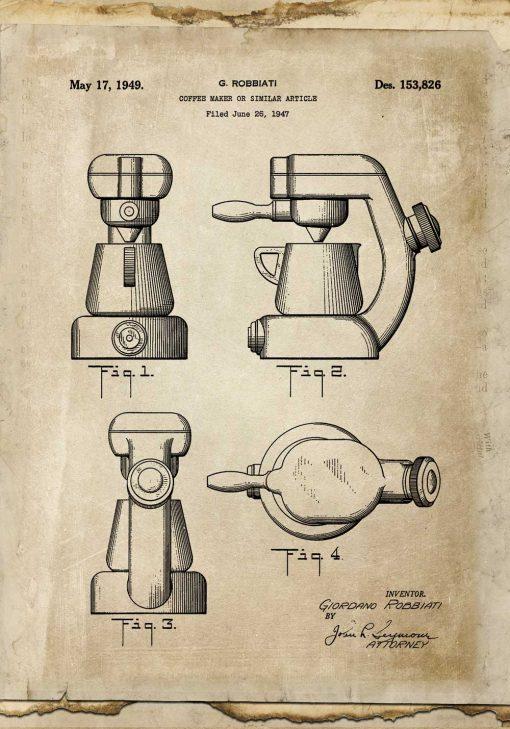 Plakat z rysunkiem opisowym ekspresu do kawy do jadalni