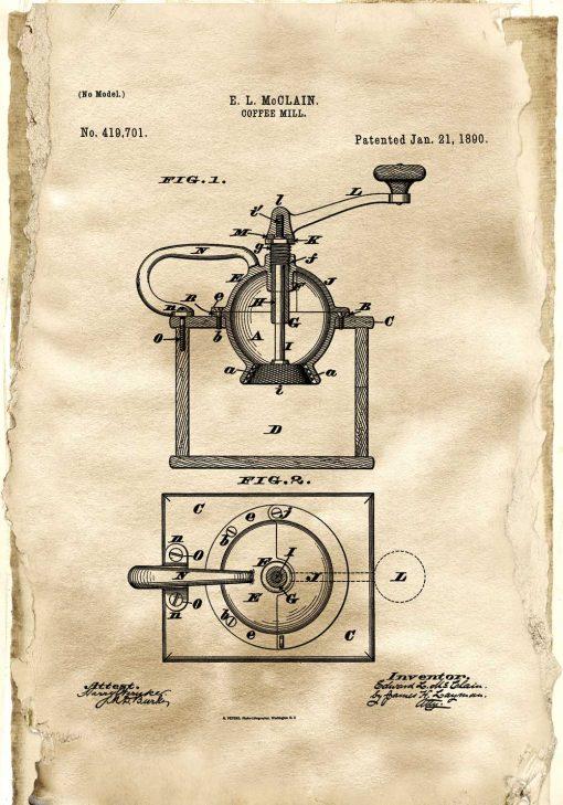 Plakat do kafeterii z rysunkiem patentowym młynka do kawy do dekoracji kuchni
