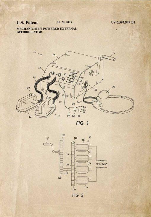 Plakat do oprawienia z parametrami budowy defibrylatora