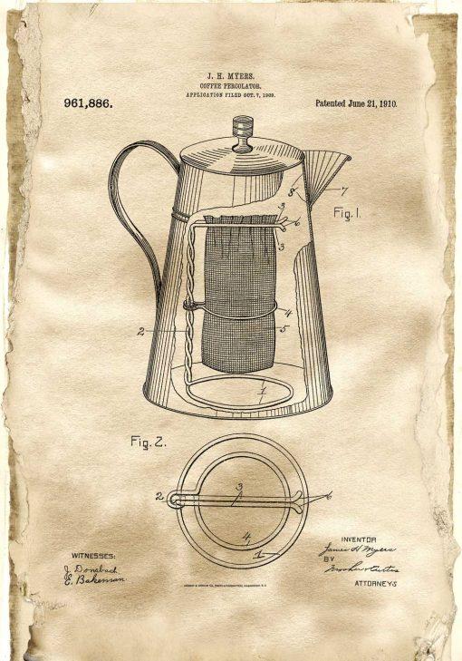 Poster z patentem na kawiarkę dla miłośnika kawy