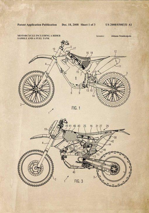 Plakat motocykl terenowy - rysunek na patencie