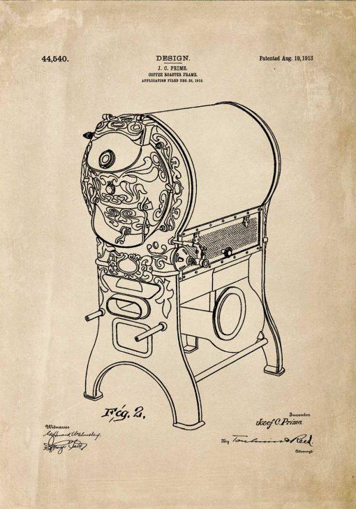 Plakat - Rysunek opisowy urządzenia do prażenia kawy