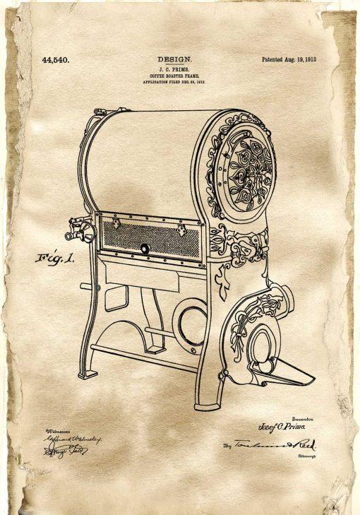 Plakat z rysunkiem patentowym pieca do kawy