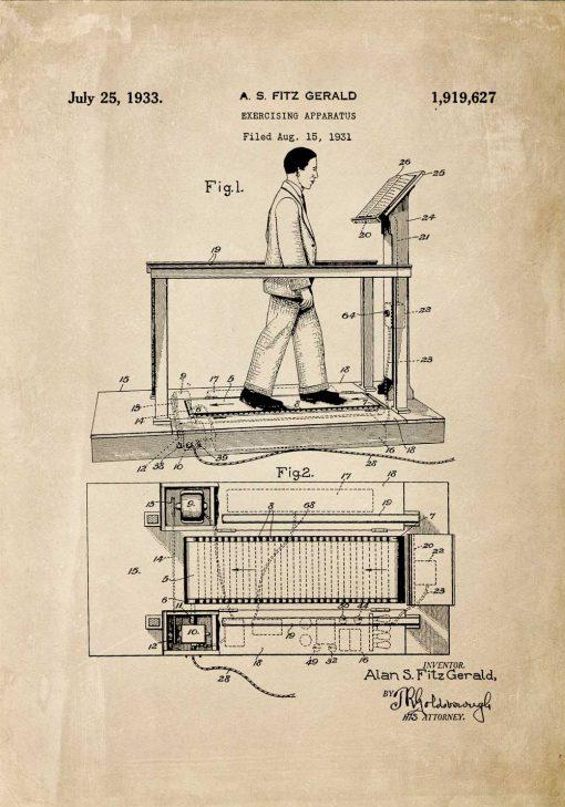 Plakat z reprodukcją patentu na bieżnię na salkę fitness