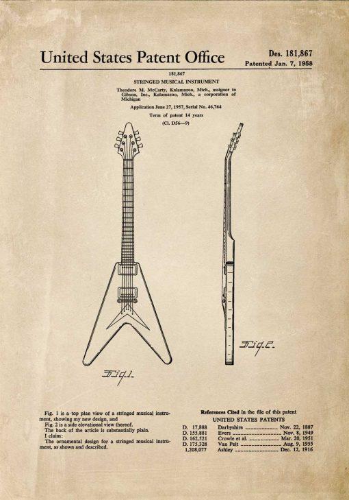 Plakat z patentem na gitarę z 1958r.