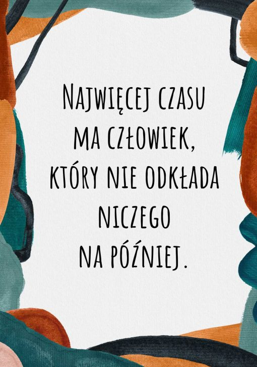 Typograficzny plakat w kolorze turkusowym do biura