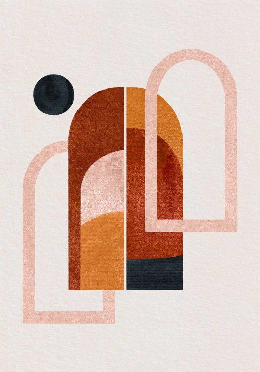 Plakat z abstrakcyjnymi oknami w tonacji czekolady