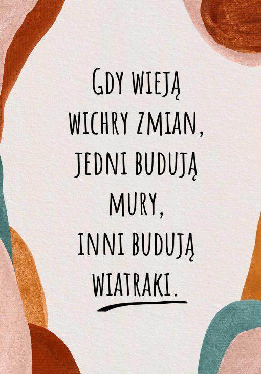 Abstrakcyjny plakat z cytatem na parapetówkę