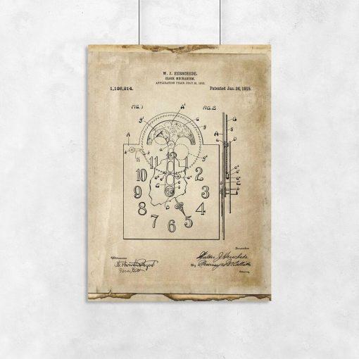 Plakat z reprodukcja rysunku opisowego zegara do jadalni