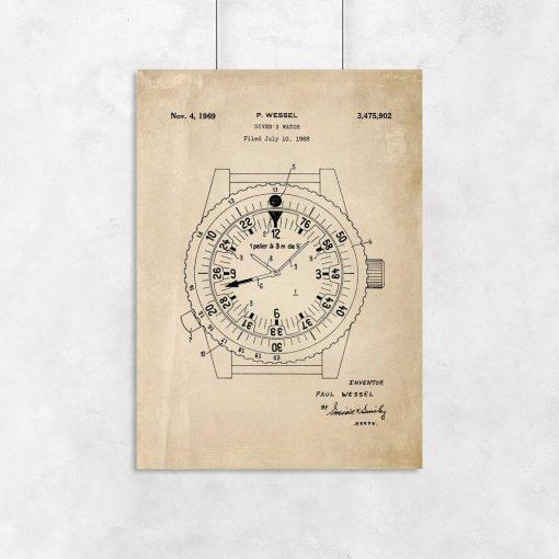 Plakat w sepii z prototypem zegarka pod wodę