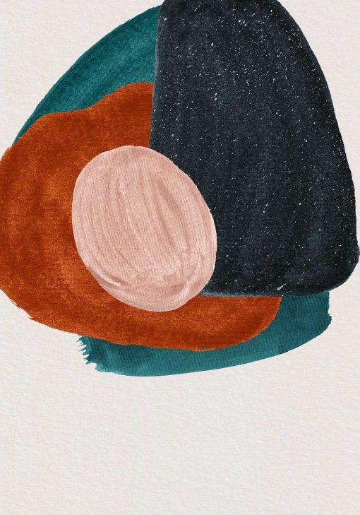 Plakat z abstrakcją na beżowym tle
