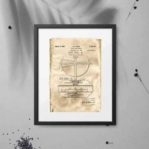 Plakat - Rysunek patentowy zegara z datownikiem do sypialni